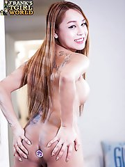 Cake is a gorgeous Thai tgirl with a pretty smile, a sexy slim body, big boobs and a sexy hard cock! See this hot transgirl fucking herself with her d