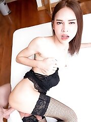Slim Ladyboy Kitty - Braces, Black Lingerie & Stockings POV Hardcore Bareback!