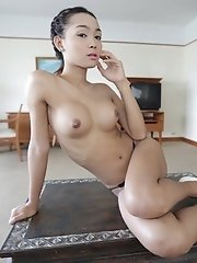 Busty Thai ladyboy with big cock has shitter stuffed with white cock
