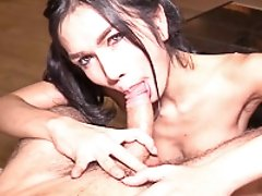 Pigtails and Cum Eating Handjob