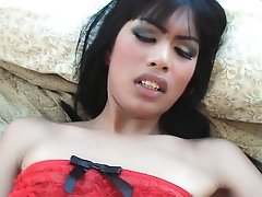 Bareback cock fucks and cum on Ladyboy Karns asshole