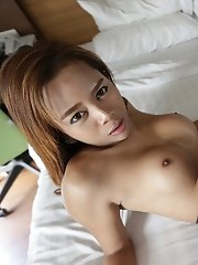 23yo sexy Thai ladyboy gets covered in warm cum from BWC