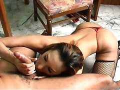 Thai ladyboy cutie Jennifer is caught off-guard by Alex while she is stroking her juicy tgirl cock